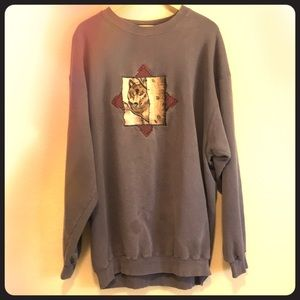 Embroidered Vintage Wolf Sweatshirt
